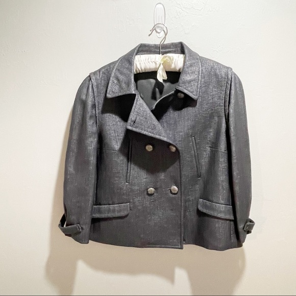 PER SE Gray Coated Double Breasted Lined Blazer